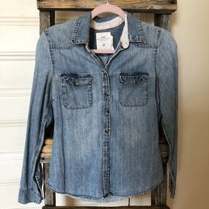 H&M Distressed Chambray Button-Down